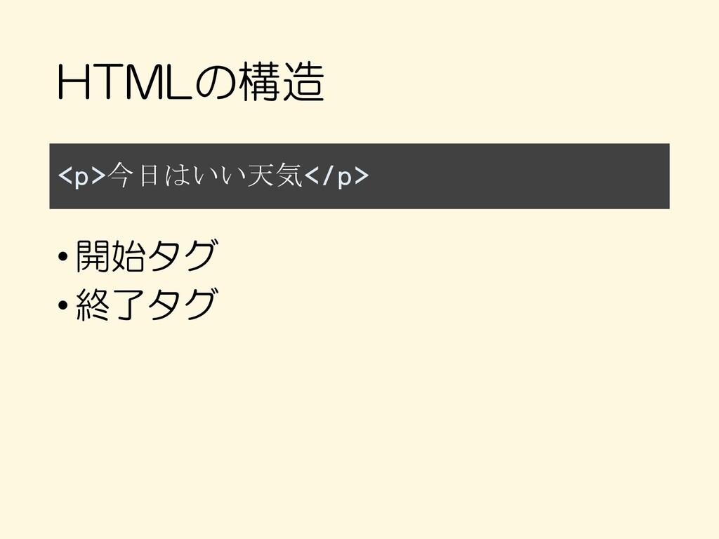 HTMLの構造 <p>今日はいい天気</p> •開始タグ •終了タグ