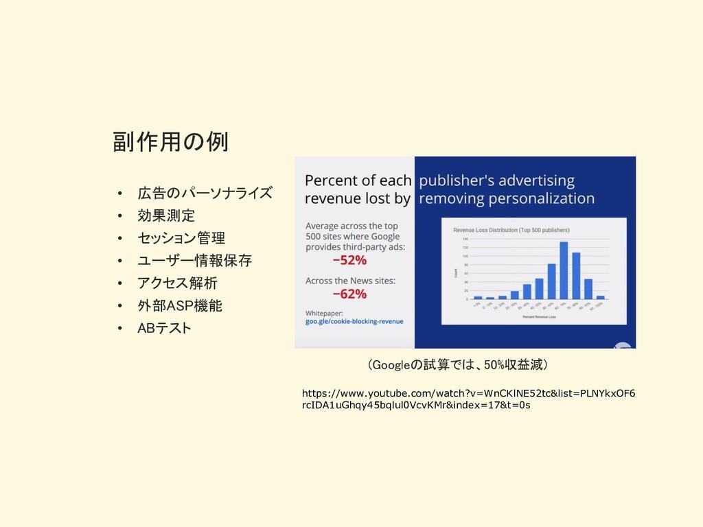 副作用の例 • 広告のパーソナライズ • 効果測定 • セッション管理 • ユーザー情報保存 ...