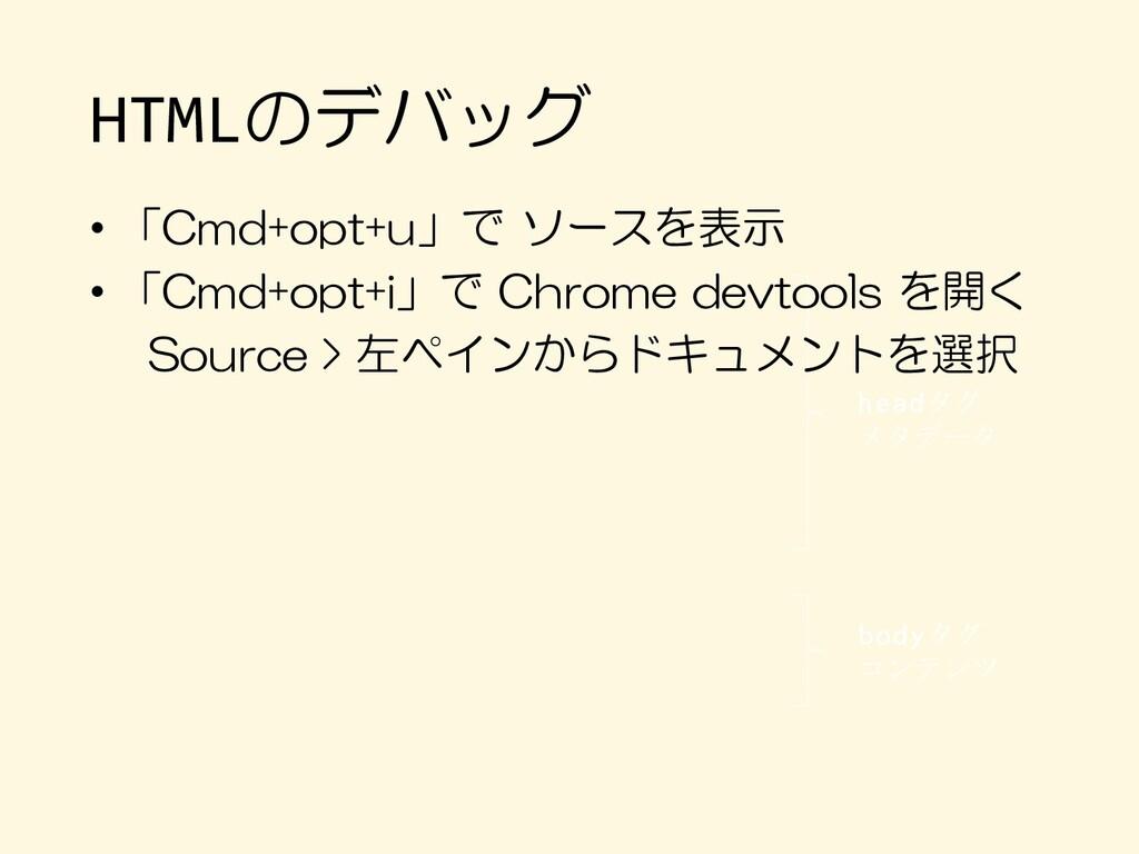 HTMLのデバッグ headタグ メタデータ bodyタグ コンテンツ • 「Cmd+opt+...