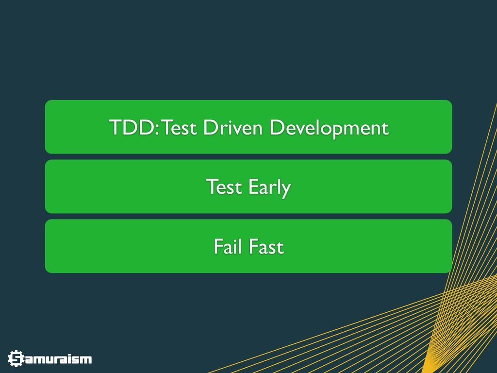 TDD: Test Driven Development Test Early Fail Fa...