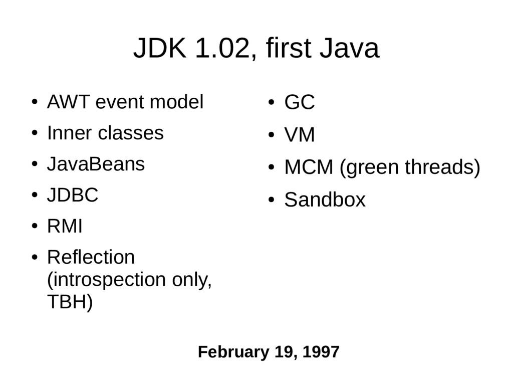 JDK 1.02, first Java ● AWT event model ● Inner ...