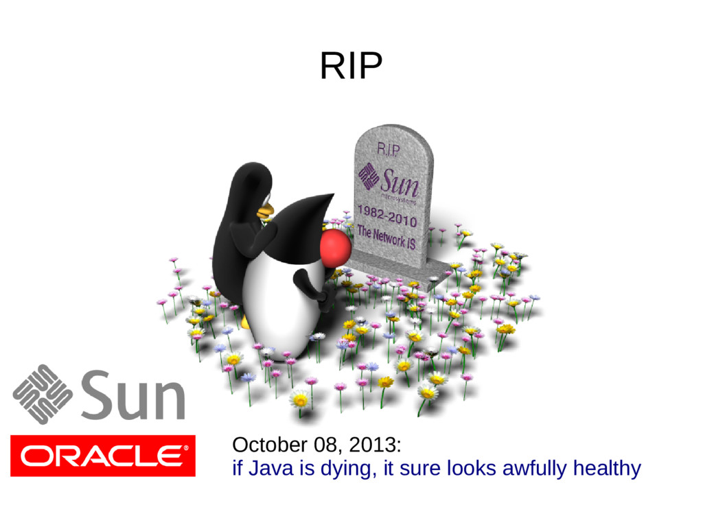 RIP October 08, 2013: if Java is dying, it sure...