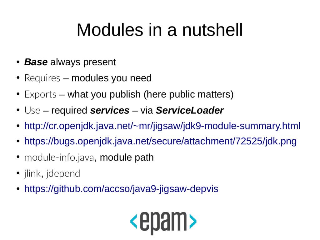 Modules in a nutshell ● Base always present ● R...