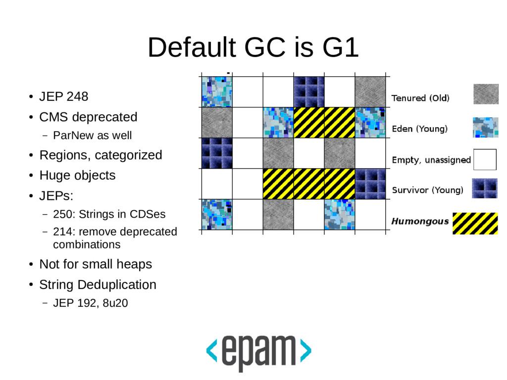 Default GC is G1 ● JEP 248 ● CMS deprecated – P...