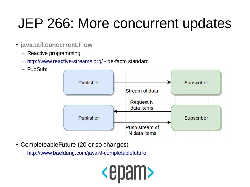 JEP 266: More concurrent updates ● java.util.co...