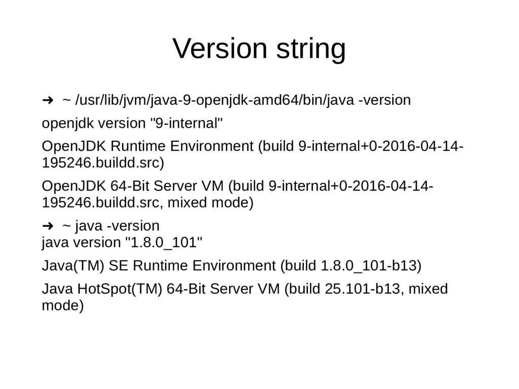 Version string ➜ ~ /usr/lib/jvm/java-9-openjdk-...