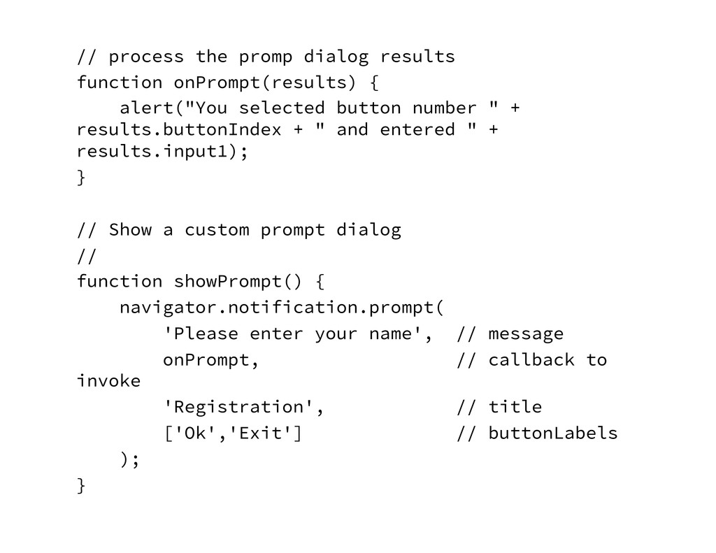 // process the promp dialog results function o...