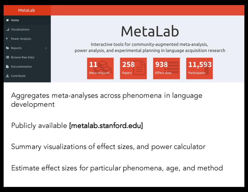 Aggregates meta-analyses across phenomena in la...