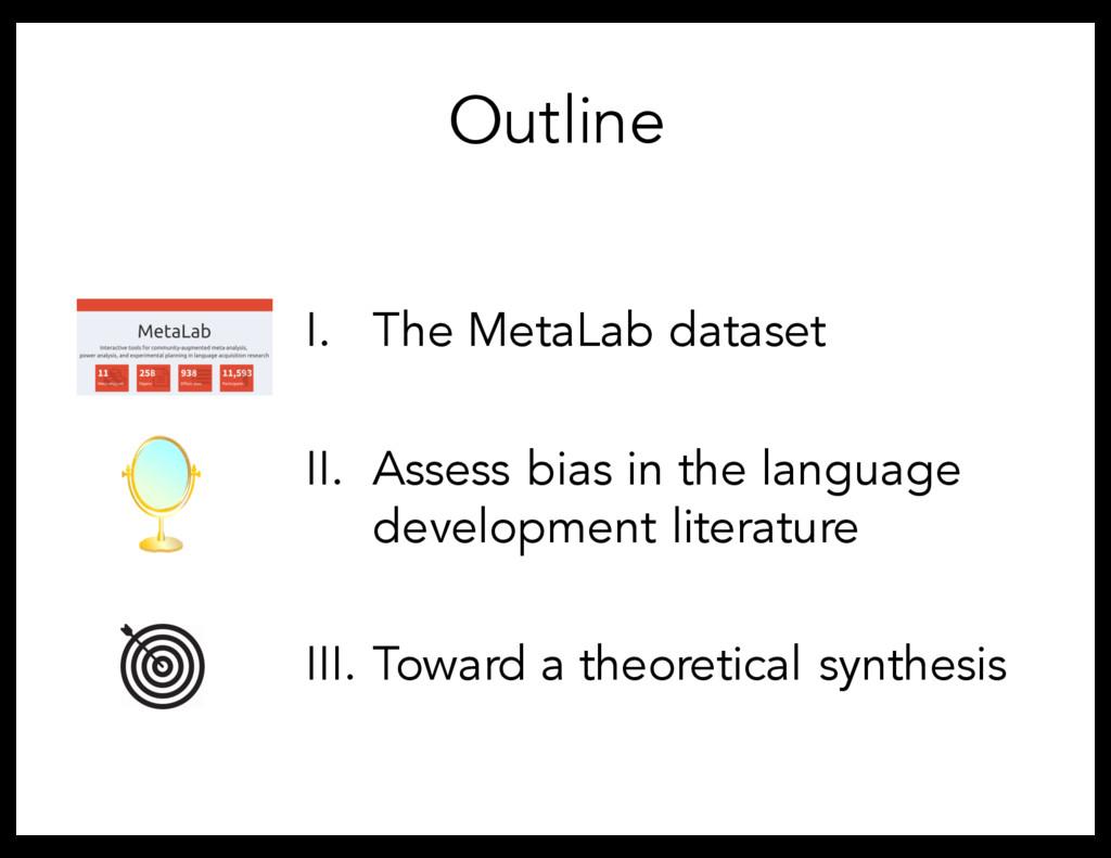Outline I. The MetaLab dataset II. Assess bias ...