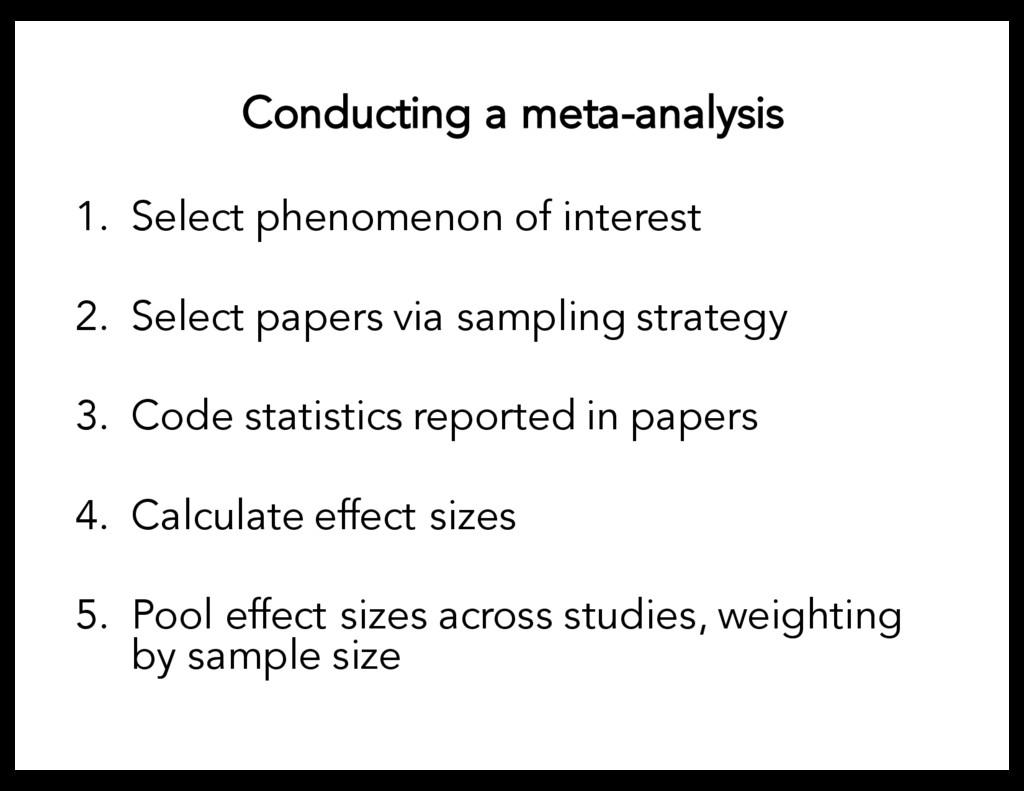 Conducting a meta-analysis 1. Select phenomenon...