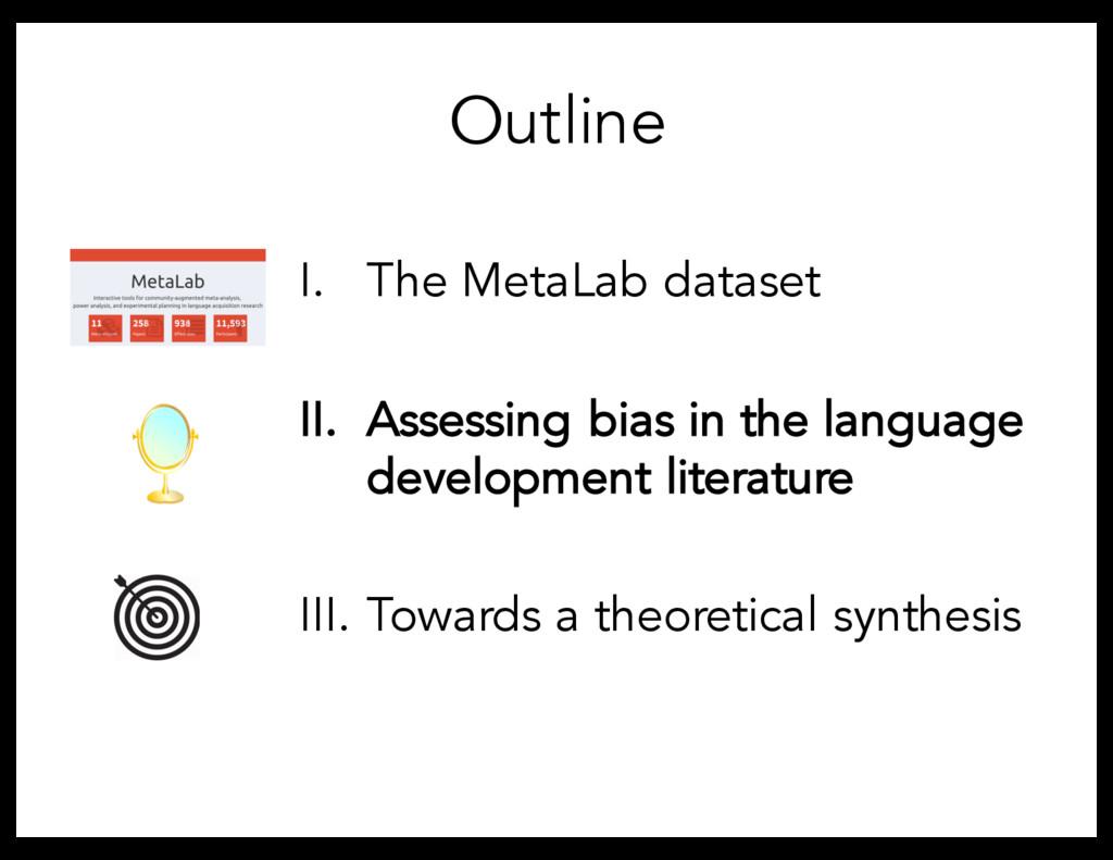 Outline I. The MetaLab dataset II. Assessing bi...