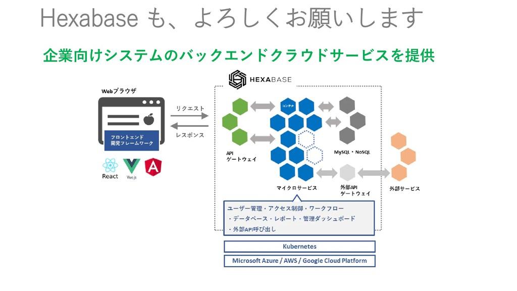 Hexabase も、よろしくお願いします 企業向けシステムのバックエンドクラウドサービスを提供