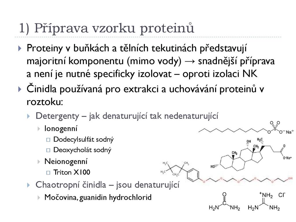 1) Příprava vzorku proteinů  Proteiny v buňkác...
