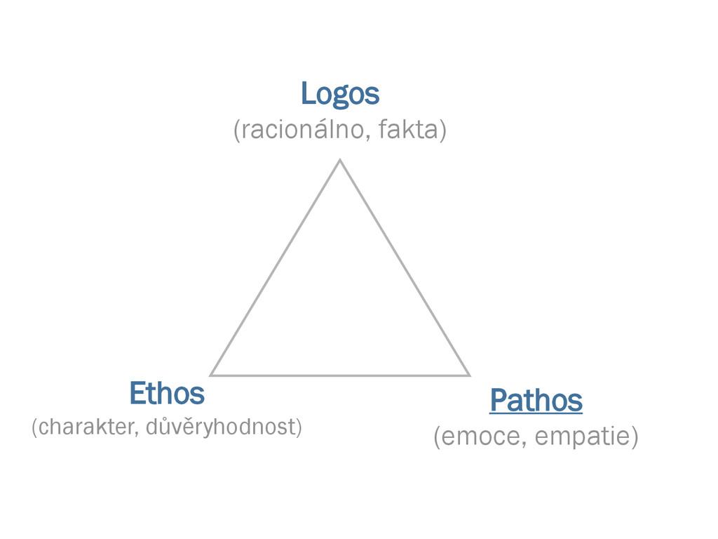 Logos (racionálno, fakta) Ethos (charakter, dův...