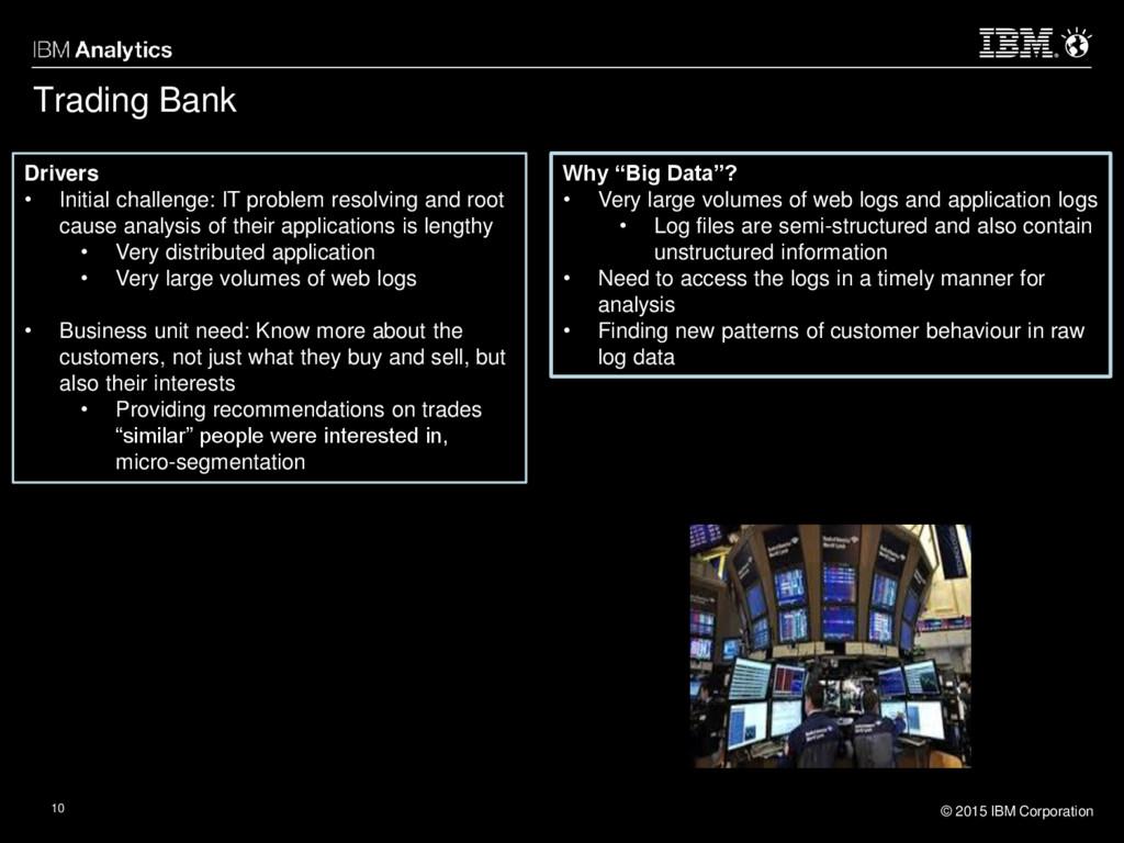 © 2015 IBM Corporation 10 Trading Bank Drivers ...