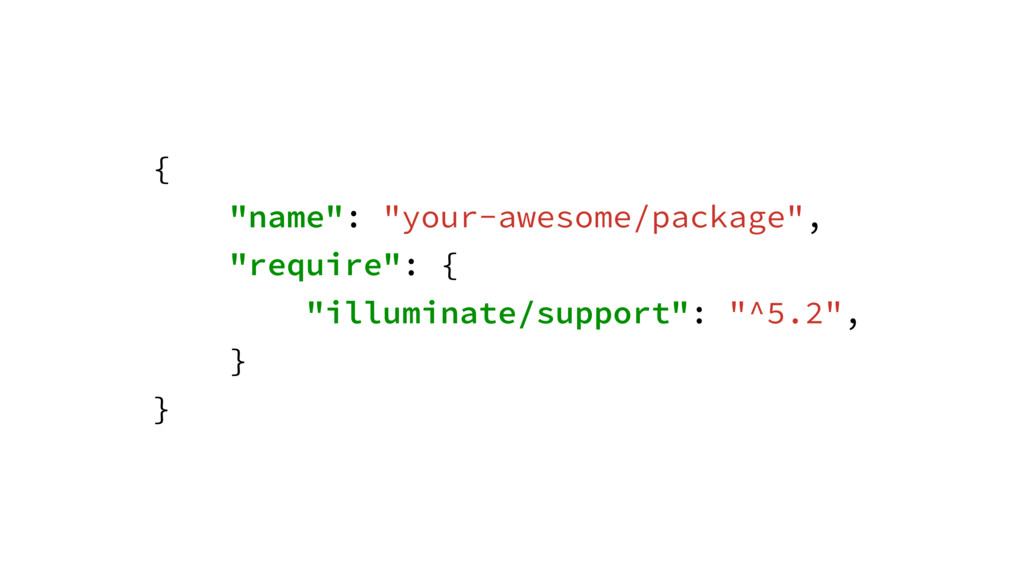 """{ """"name"""": """"your-awesome/package"""", """"require"""": { ..."""