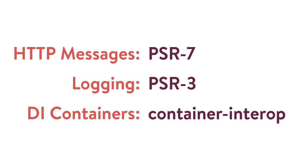 HTTP Messages: Logging: DI Containers: PSR-7 PS...