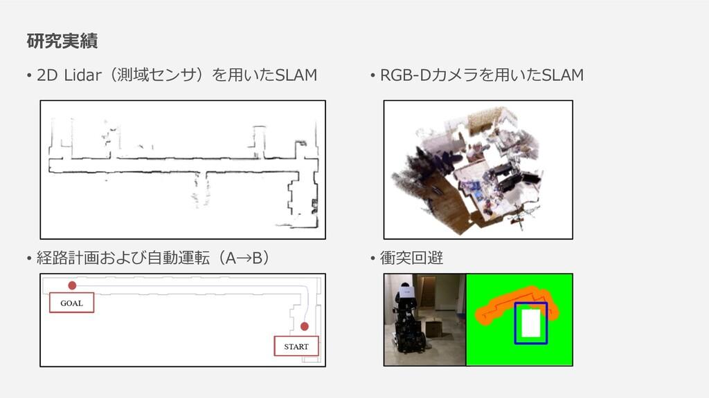 研究実績 • 2D Lidar(測域センサ)を⽤いたSLAM • 経路計画および⾃動運転(A→...
