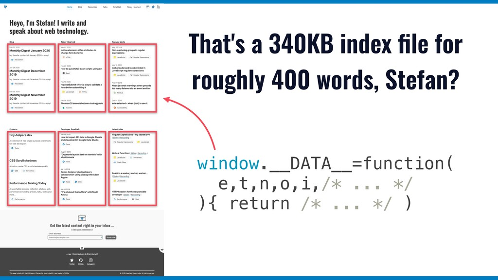 That's a 340KB index file for roughly 400 words,...