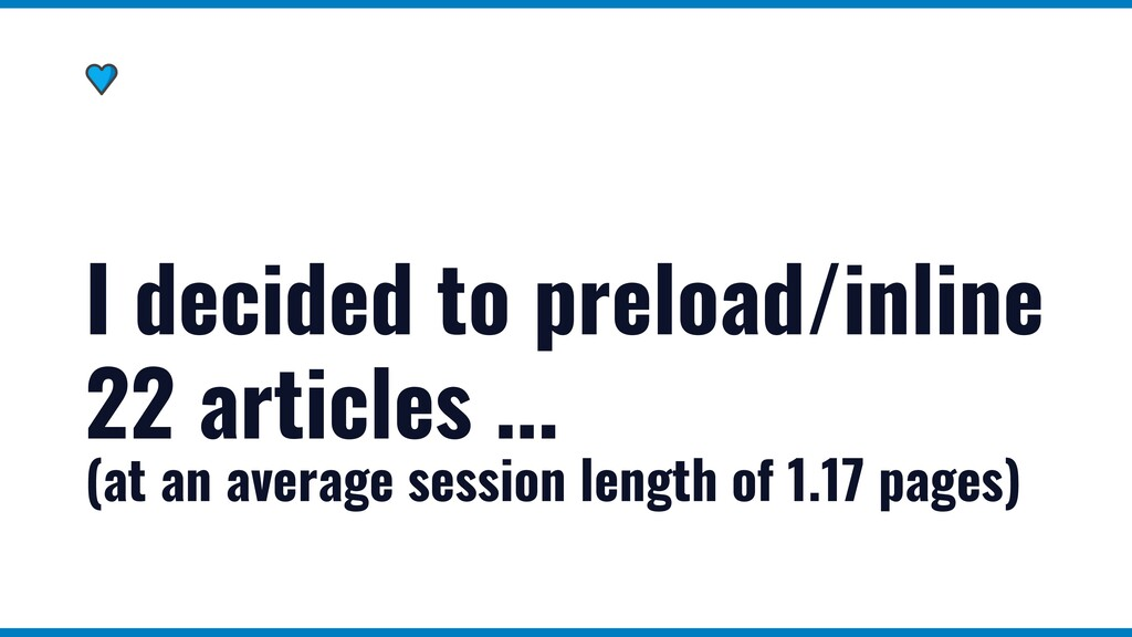 I decided to preload/inline 22 articles ... (at...
