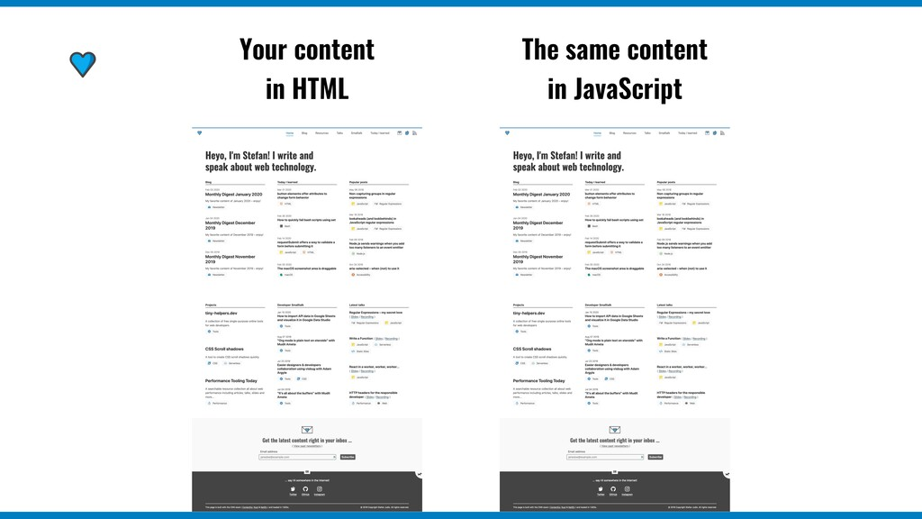 Your content in HTML The same content in JavaSc...