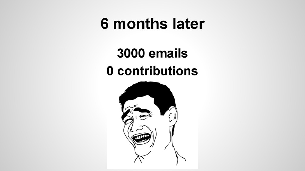 6 months later 3000 emails 0 contributions