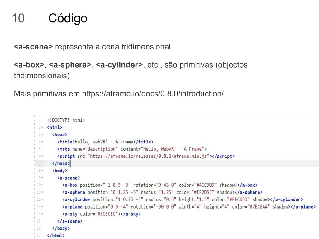 Código <a-scene> representa a cena tridimension...