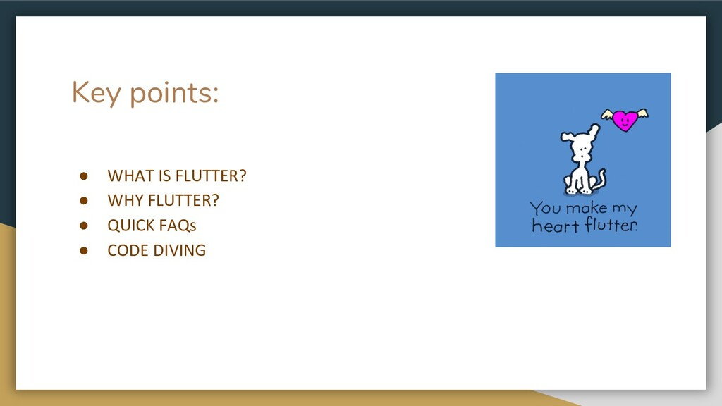 Key points: ● WHAT IS FLUTTER? ● WHY FLUTTER? ●...