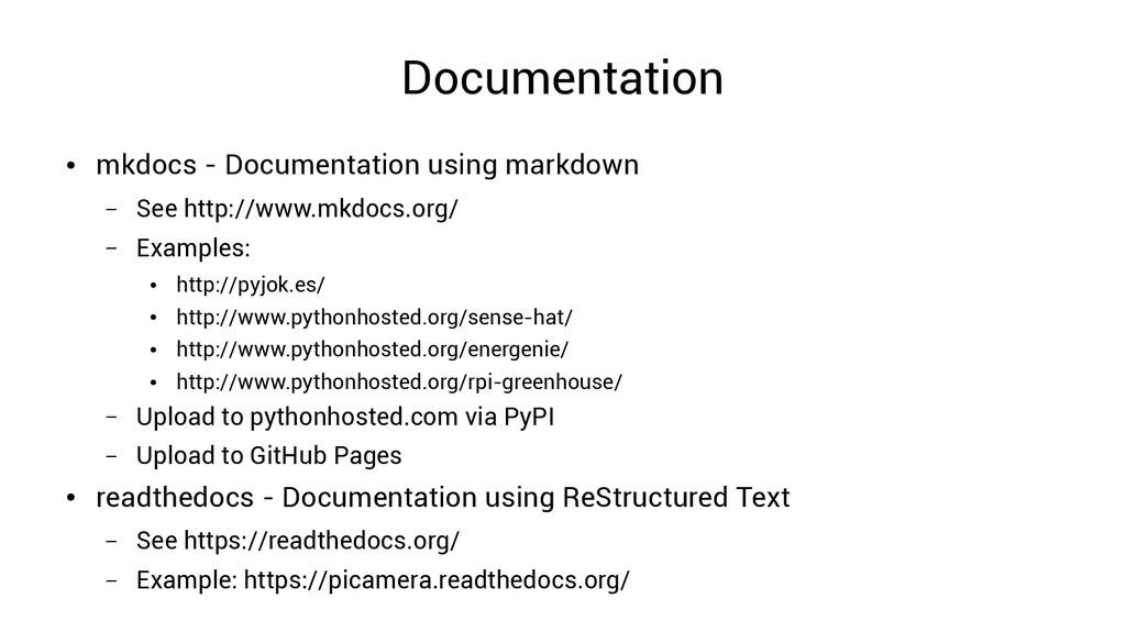 Documentation ● mkdocs - Documentation using ma...