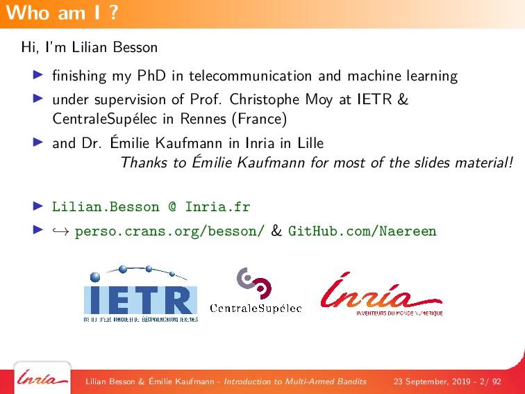 Hi, I'm Lilian Besson finishing my PhD in teleco...