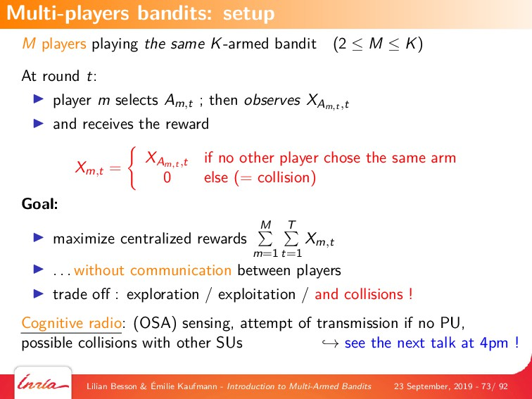 M players playing the same K-armed bandit (2 ≤ ...