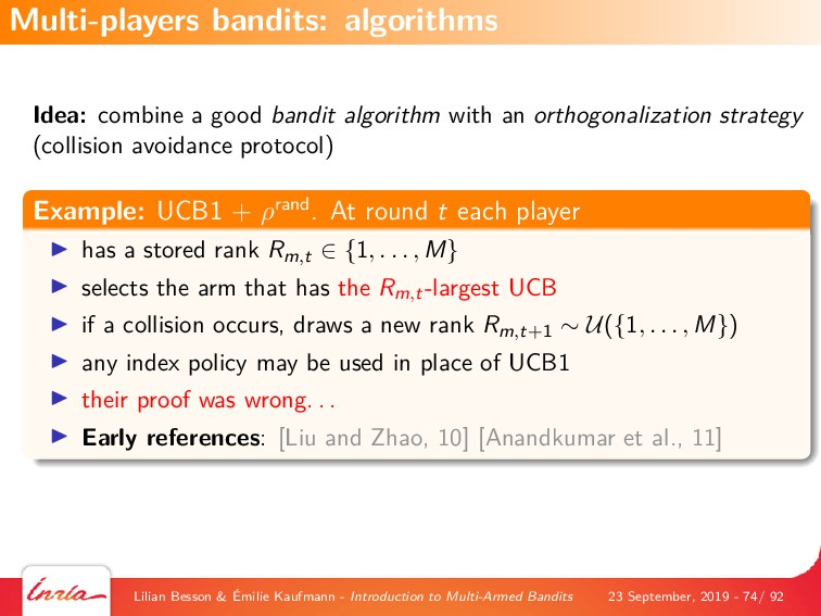 Idea: combine a good bandit algorithm with an o...