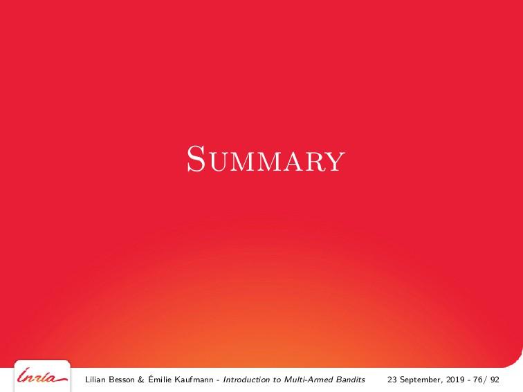 Summary Lilian Besson & Émilie Kaufmann - Intro...