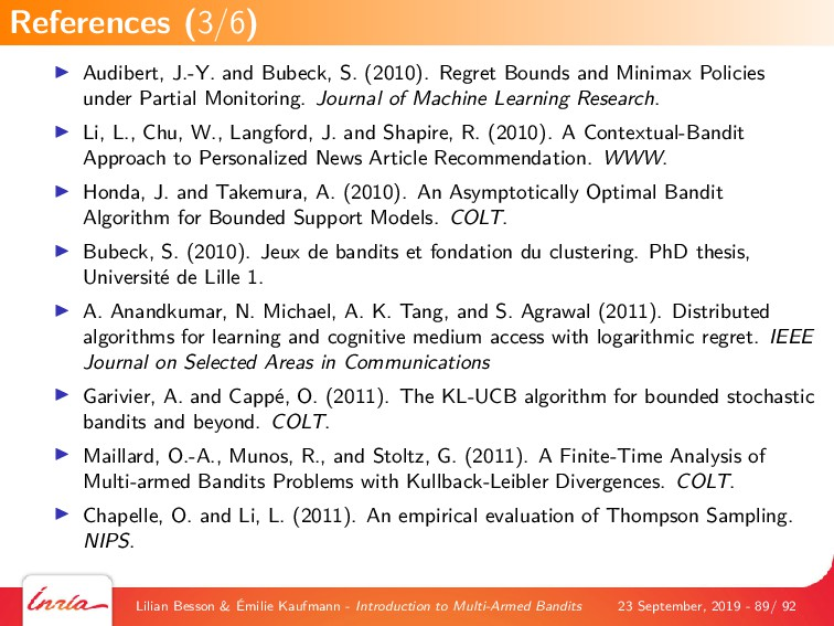 Audibert, J.-Y. and Bubeck, S. (2010). Regret B...