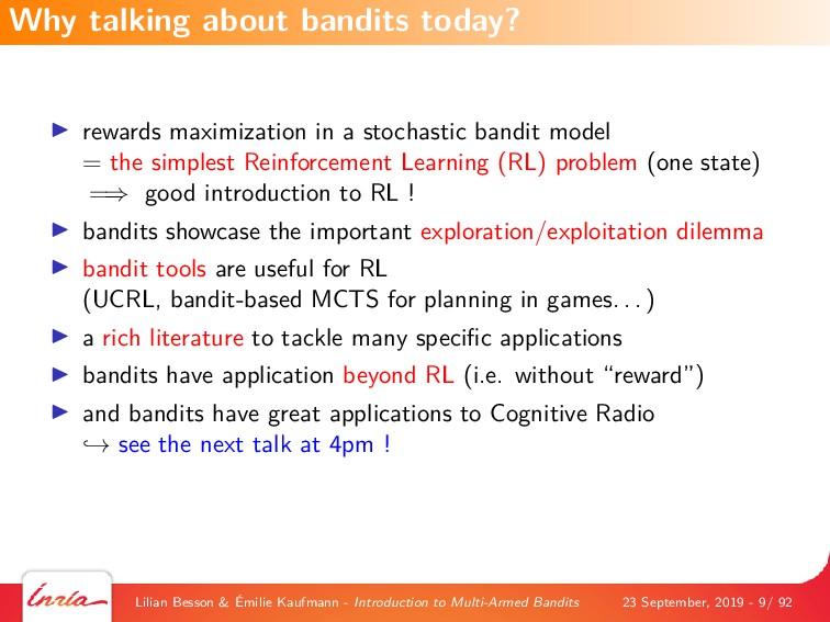 rewards maximization in a stochastic bandit mod...
