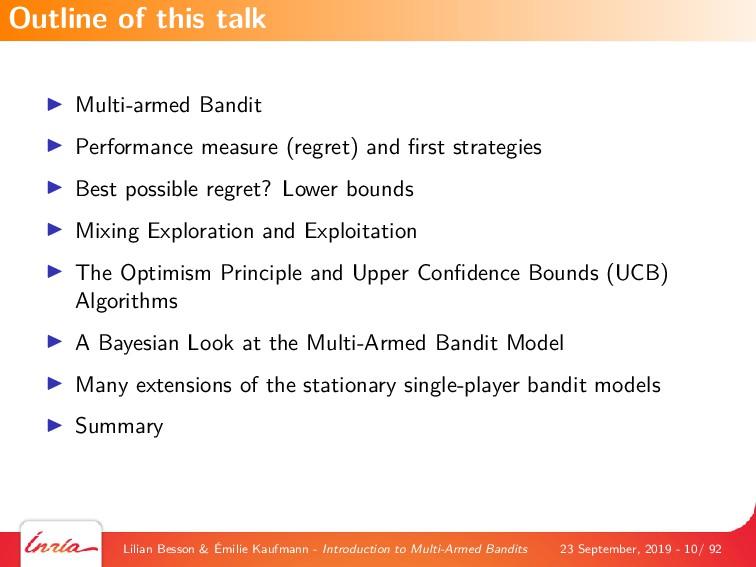 Multi-armed Bandit Performance measure (regret)...