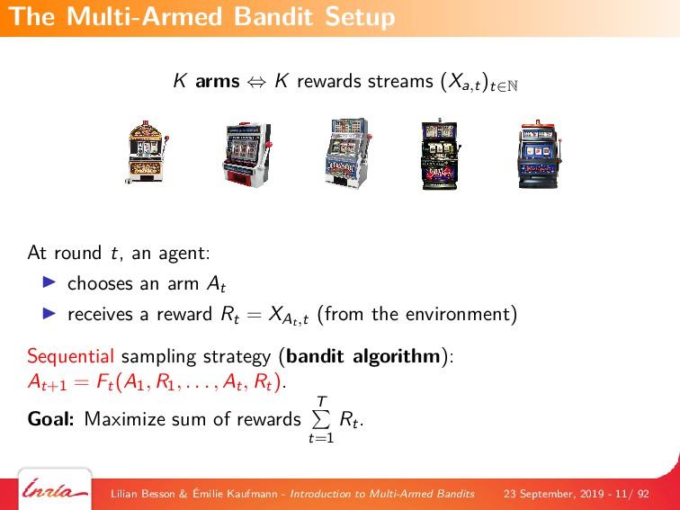 K arms ⇔ K rewards streams (Xa,t)t∈N At round t...