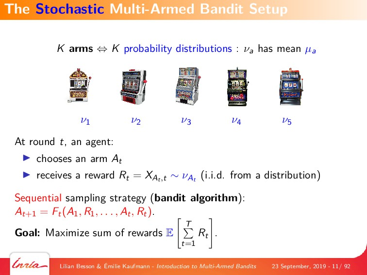 K arms ⇔ K probability distributions : νa has m...