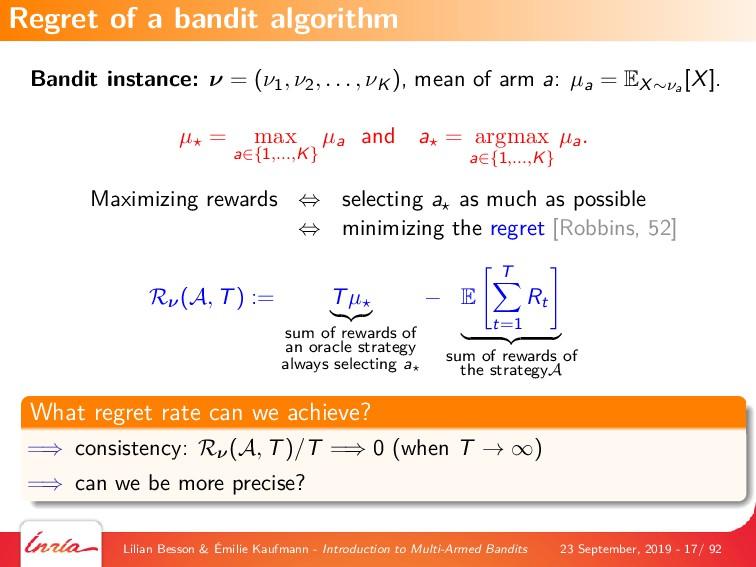 Bandit instance: ν = (ν1, ν2, . . . , νK ), mea...