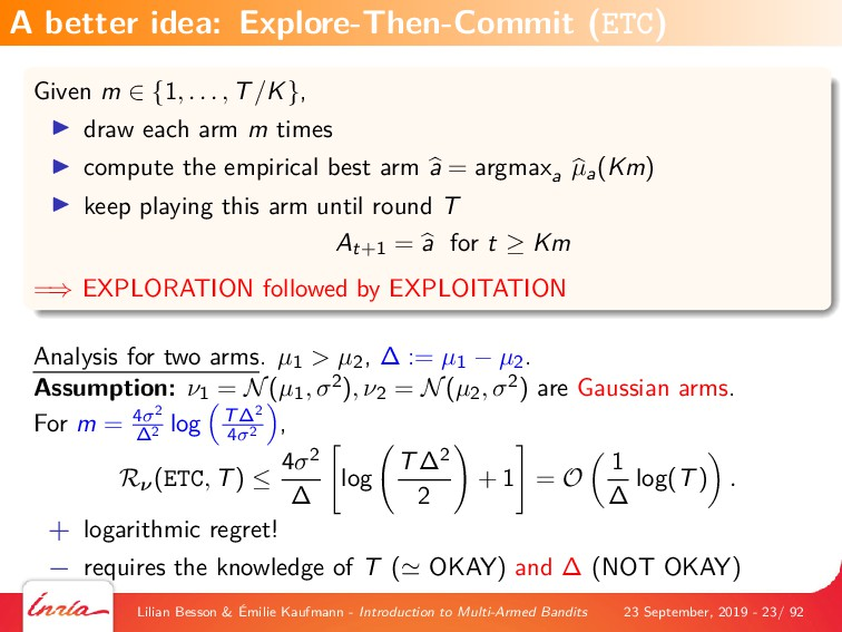 Given m ∈ {1, . . . , T/K}, draw each arm m tim...
