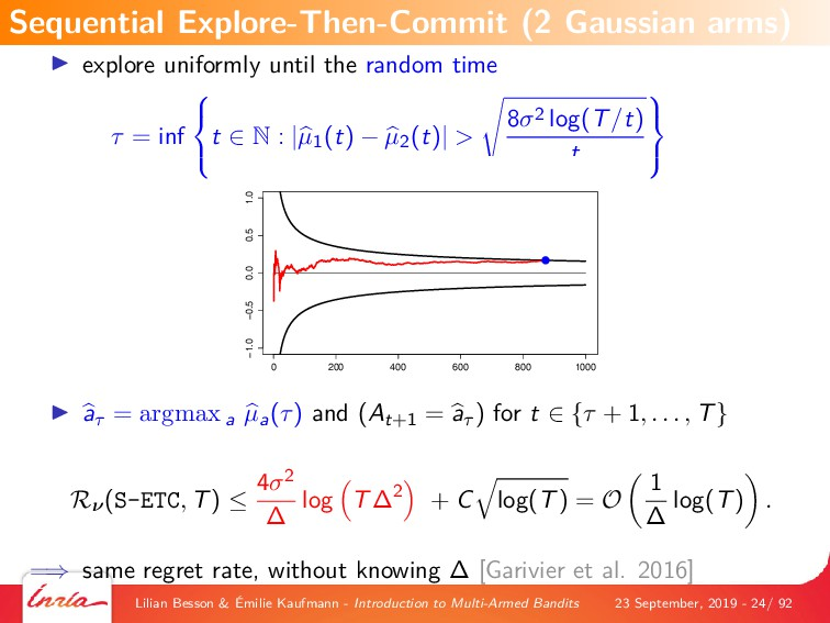 explore uniformly until the random time τ = inf...