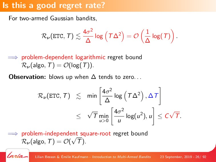 For two-armed Gaussian bandits, Rν(ETC, T) 4σ2 ...