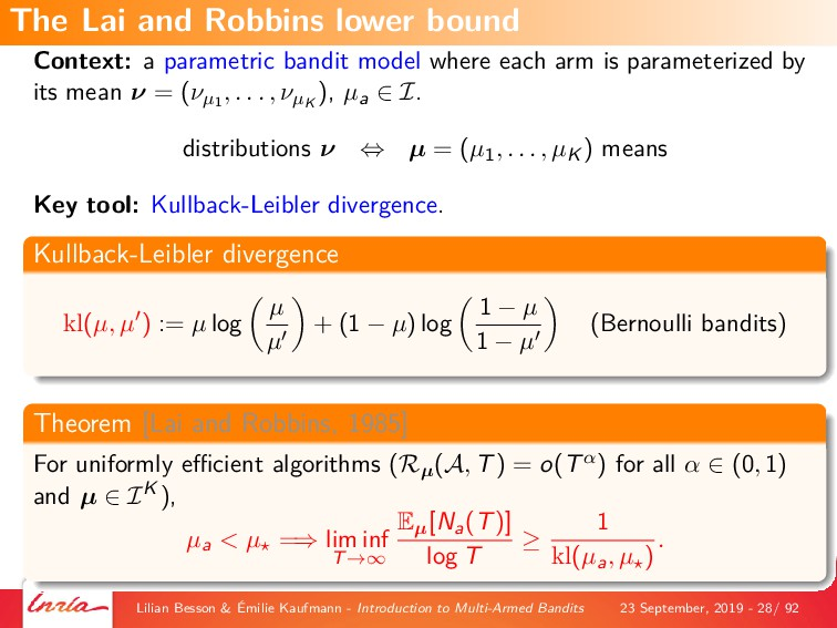Context: a parametric bandit model where each a...