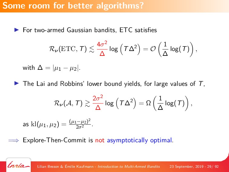 For two-armed Gaussian bandits, ETC satisfies Rν...