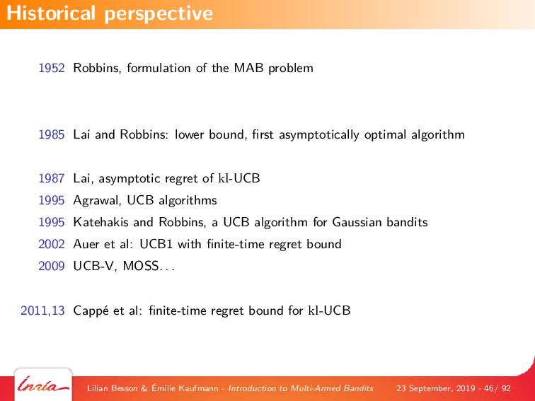 1952 Robbins, formulation of the MAB problem 19...