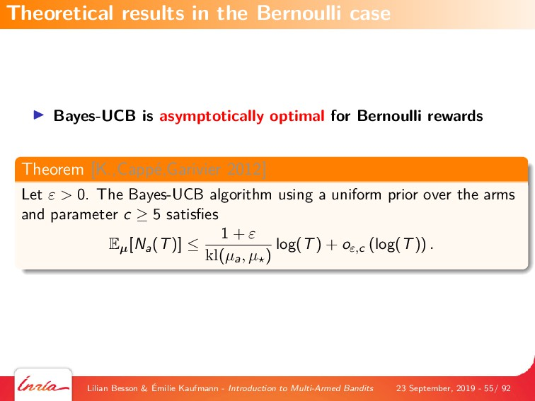 Bayes-UCB is asymptotically optimal for Bernoul...