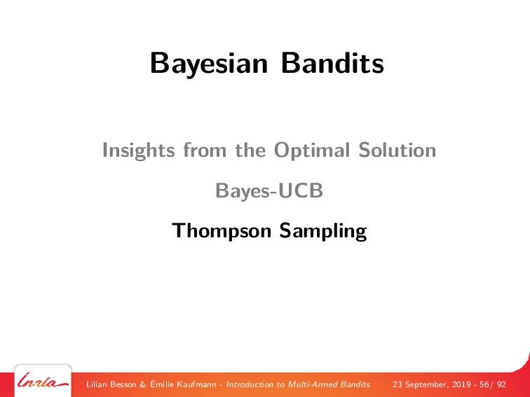Bayesian Bandits Insights from the Optimal Solu...