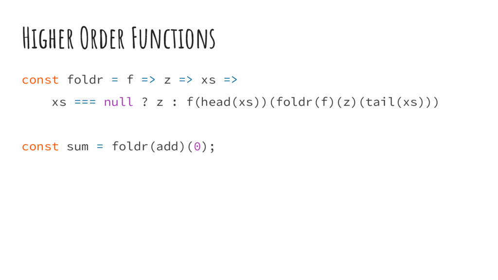 Higher Order Functions const foldr = f => z => ...