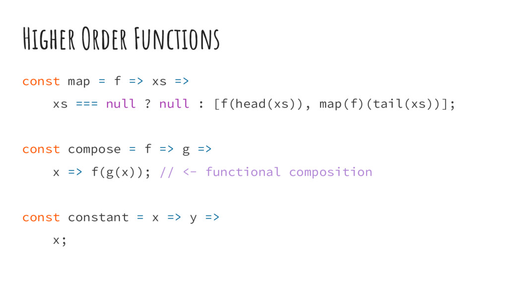 Higher Order Functions const map = f => xs => x...