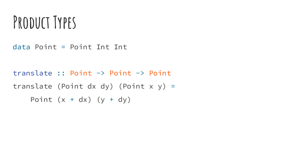 Product Types data Point = Point Int Int transl...